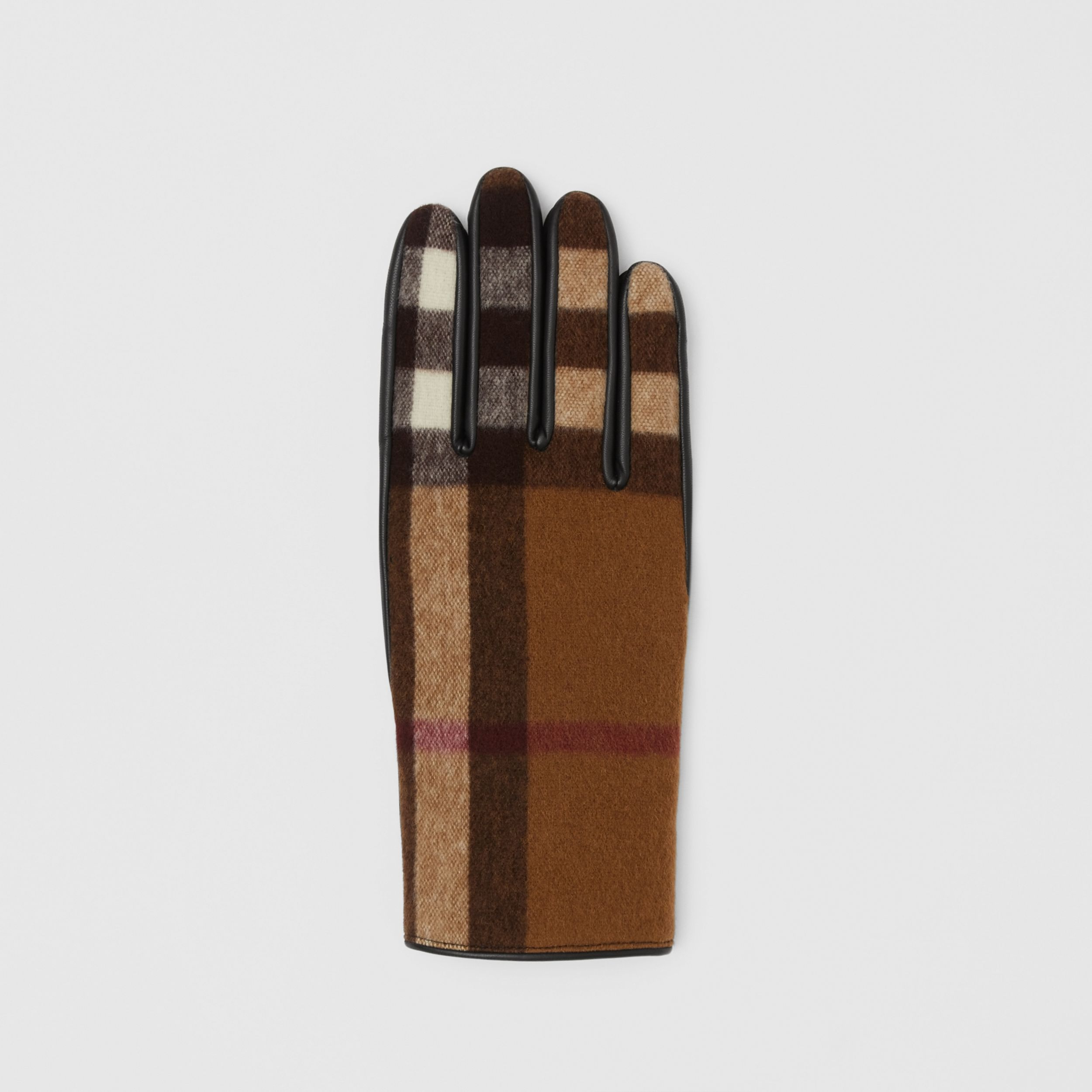 Cashmere-lined Check Wool and Lambskin Gloves in Birch Brown | Burberry - 3