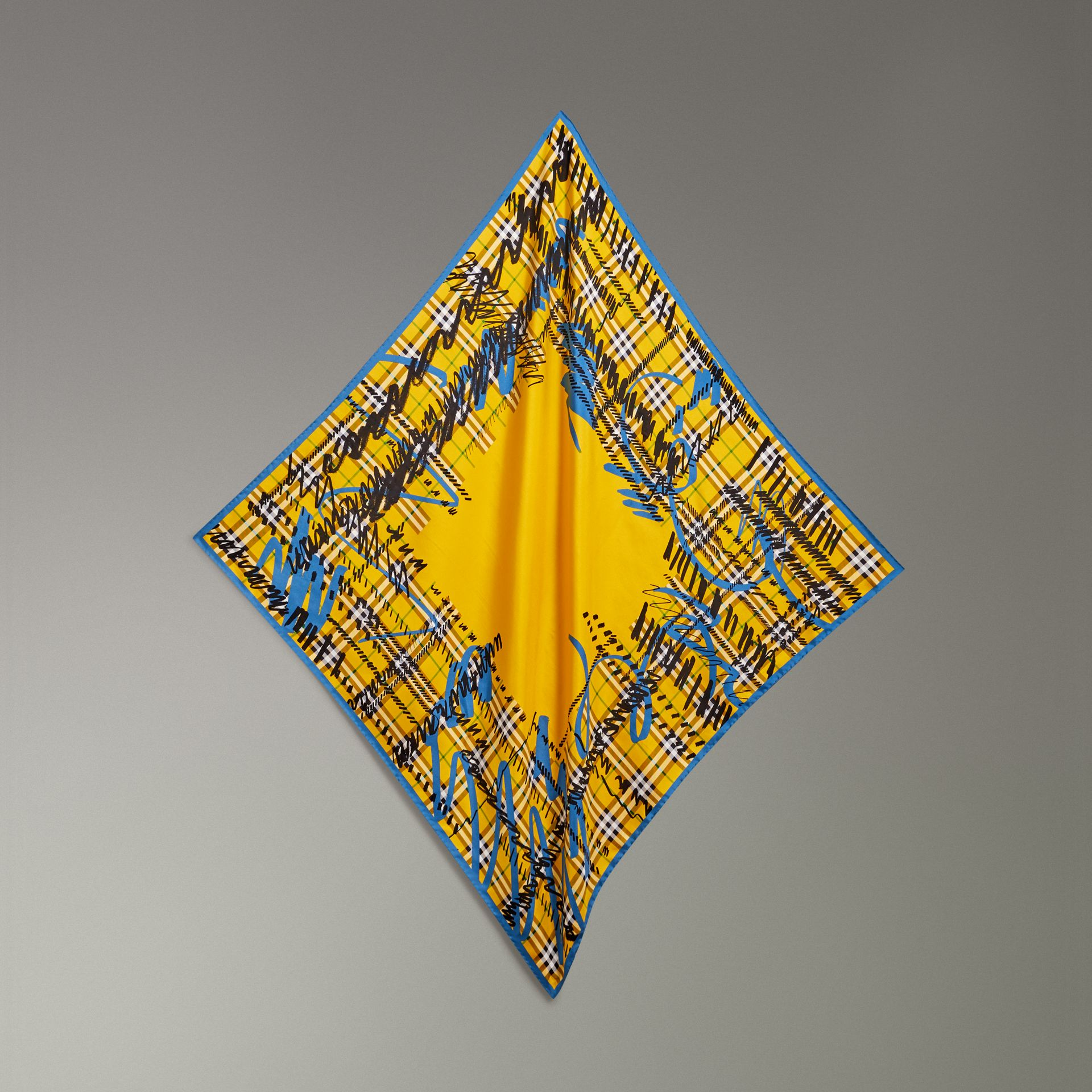 Scribble Check Silk Square Scarf in Bright Yellow - Women | Burberry - gallery image 0