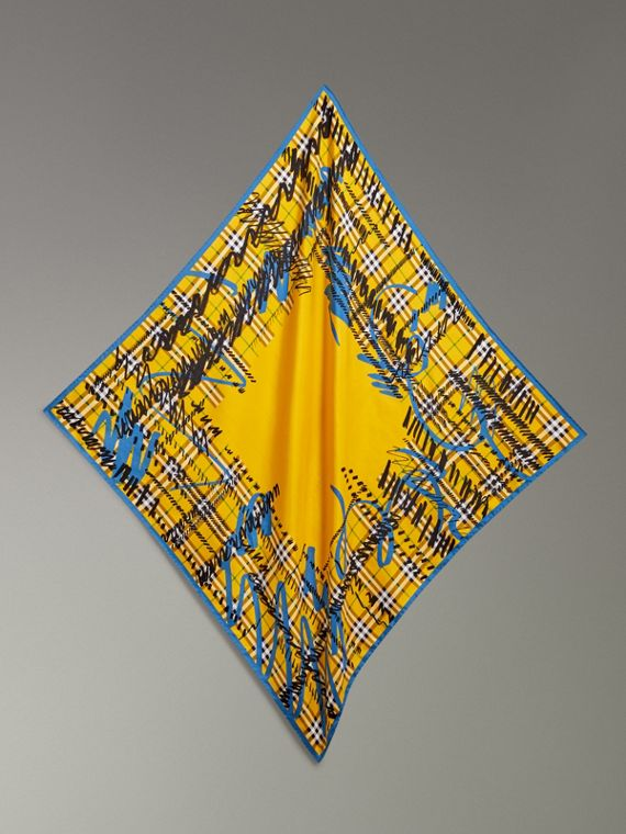 Scribble Check Silk Square Scarf in Bright Yellow