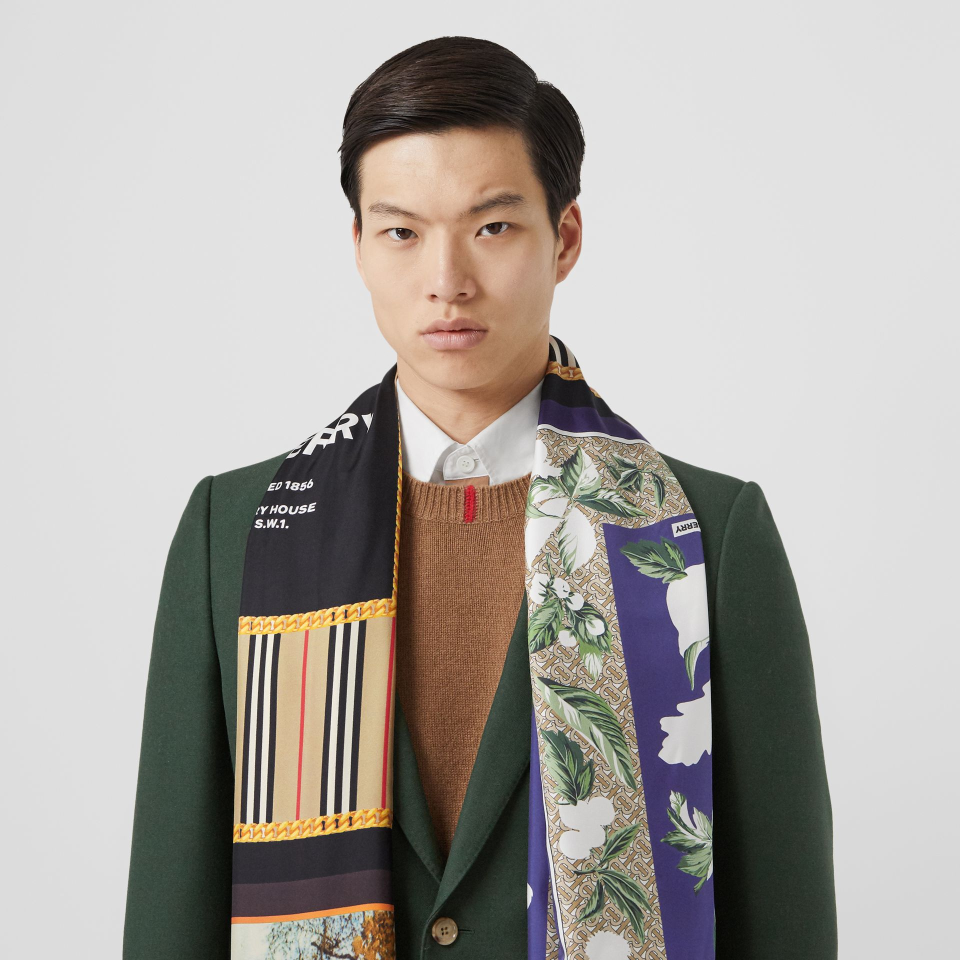 Montage Print Silk Scarf in Archive Beige | Burberry - gallery image 7