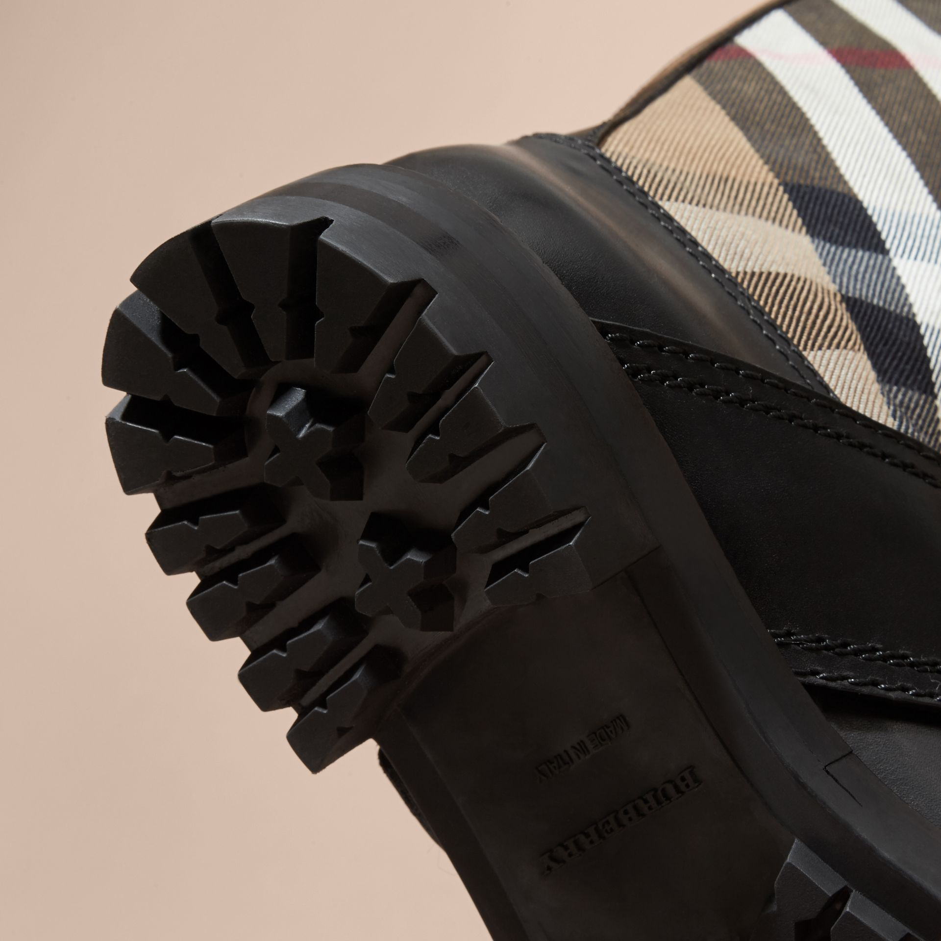 House Check Buckle Detail Leather Boots - Women | Burberry - gallery image 5