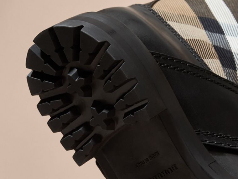 House Check Buckle Detail Leather Boots - Women | Burberry - cell image 4