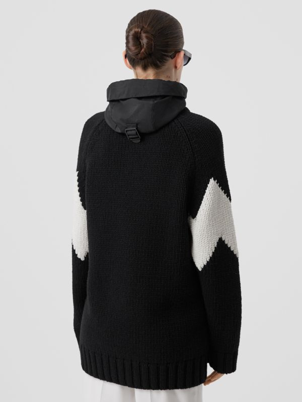 Detachable Hood Two-tone Wool Cashmere Cardigan in Black - Women | Burberry - cell image 2