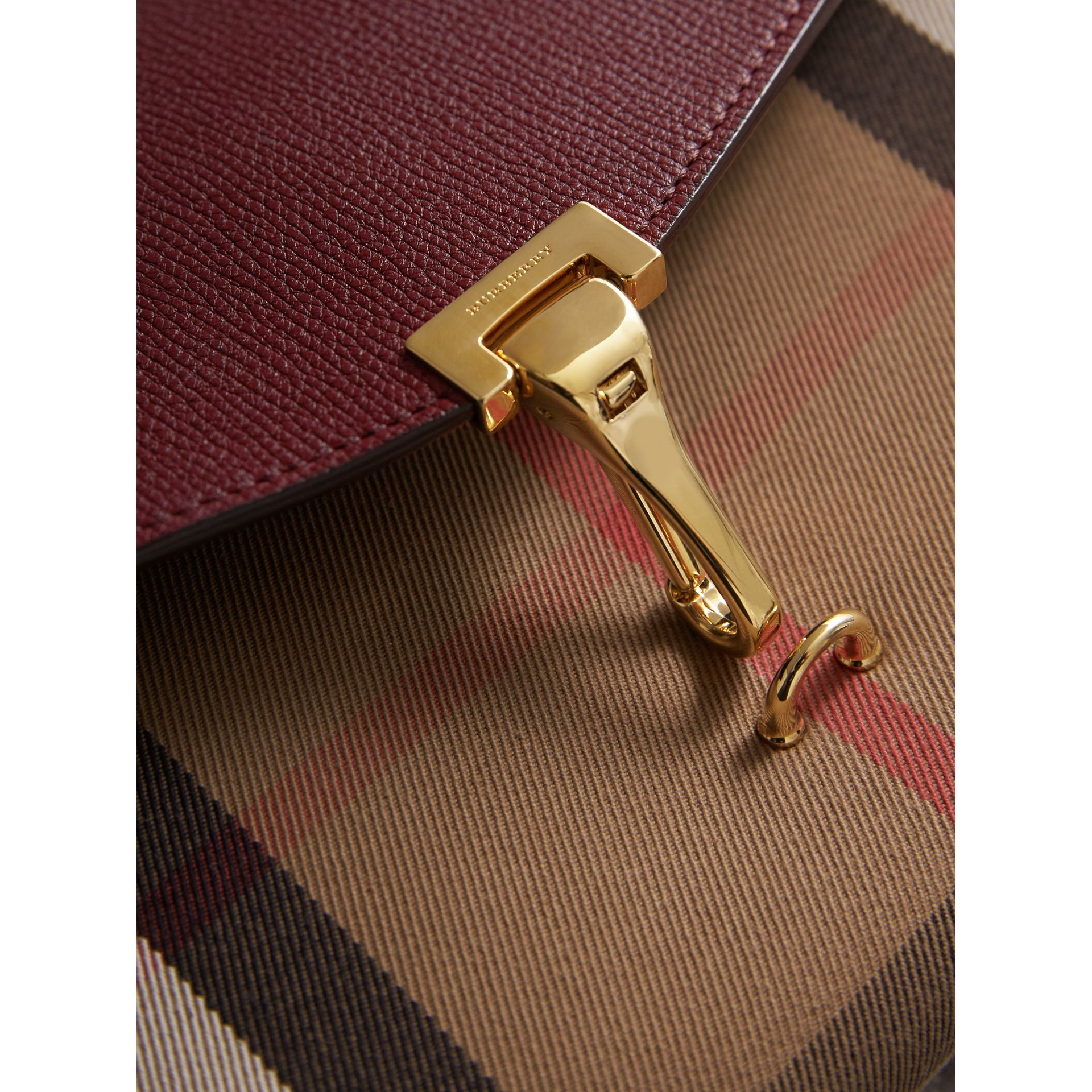 Small Leather and House Check Crossbody Bag in Mahogany Red - Women | Burberry Canada - gallery image 1