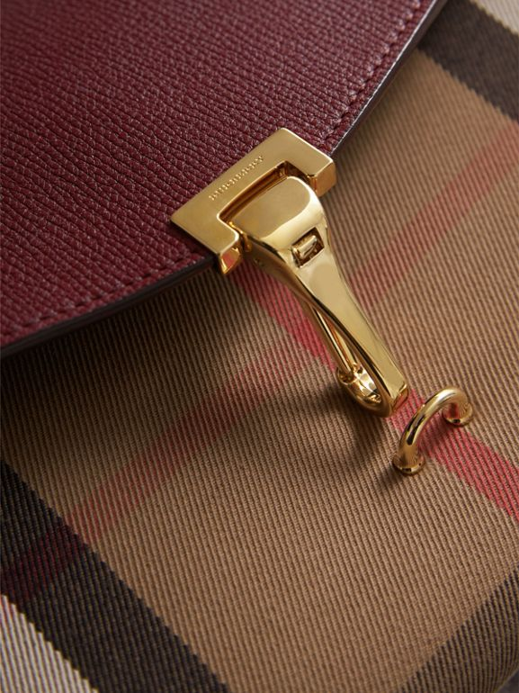 Small Leather and House Check Crossbody Bag in Mahogany Red - Women | Burberry - cell image 1
