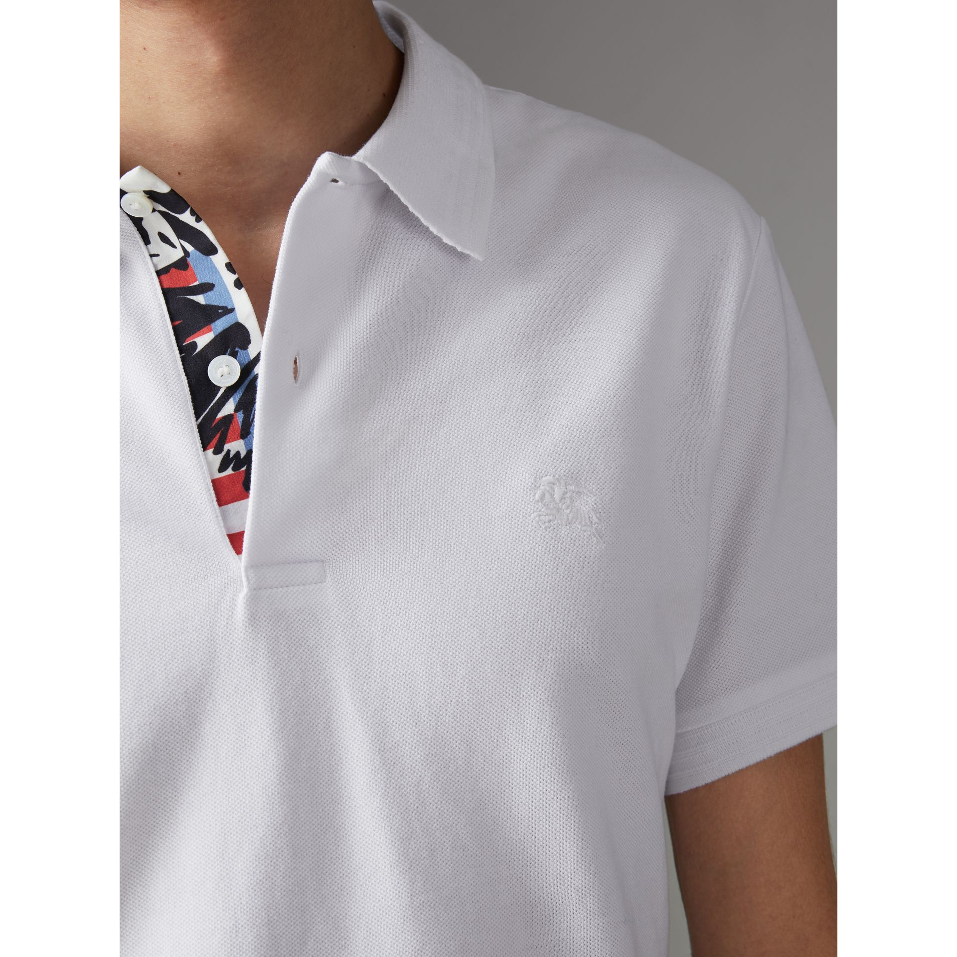 Print Trim Cotton Piqué Polo Shirt in White - Men | Burberry - gallery image 1
