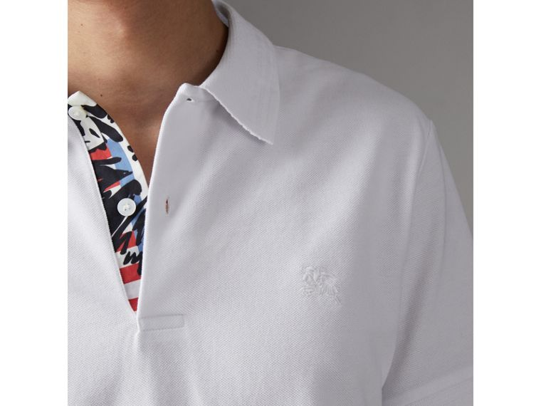 Print Trim Cotton Piqué Polo Shirt in White - Men | Burberry - cell image 1