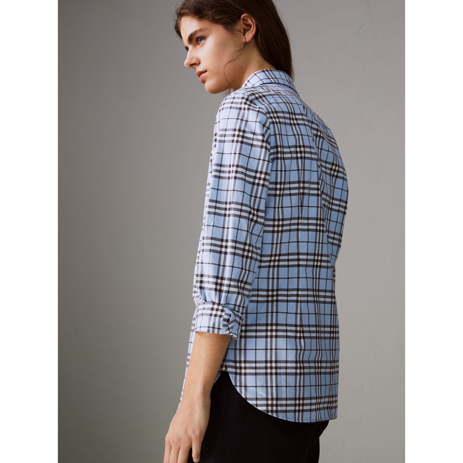 Check Cotton Shirt in Sky Blue - Women | Burberry United States - gallery image 2