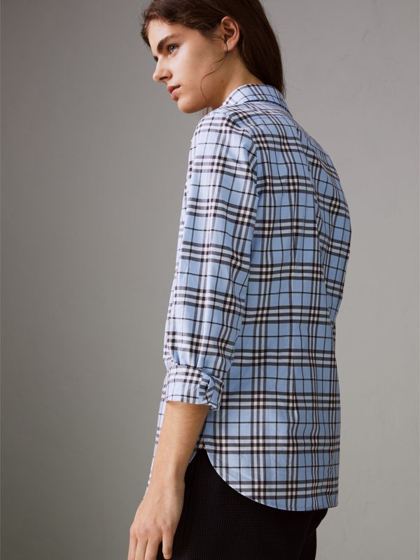 Check Cotton Shirt in Sky Blue - Women | Burberry United States - cell image 2