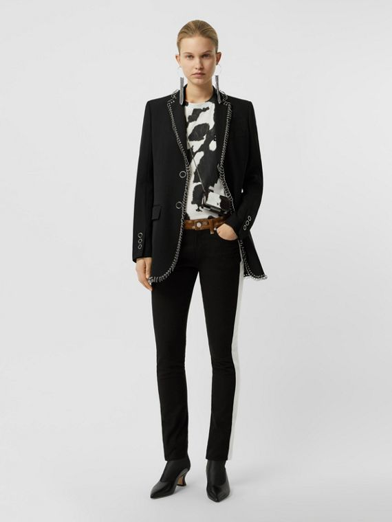 Ring-pierced Wool Tailored Jacket in Black