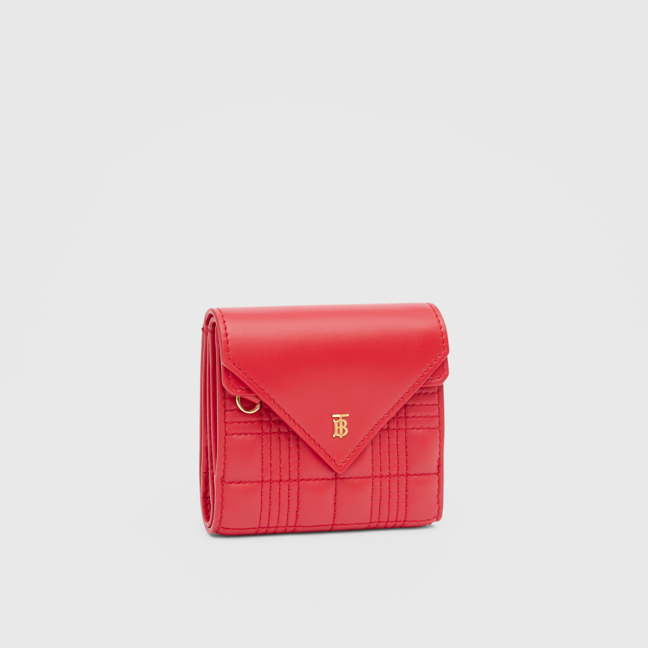 Quilted Lambskin Folding Wallet in Bright Red - Women | Burberry - 4