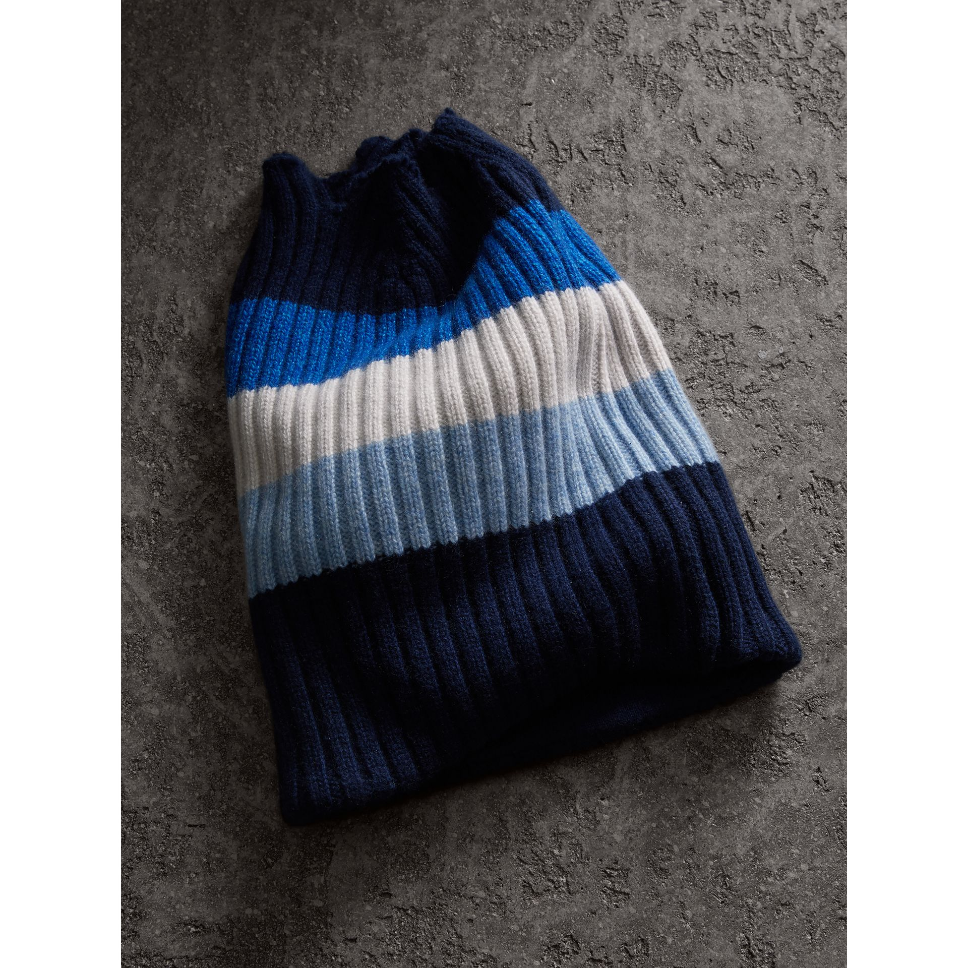 Striped Cashmere Open-top Beanie in Sky Blue | Burberry - gallery image 1