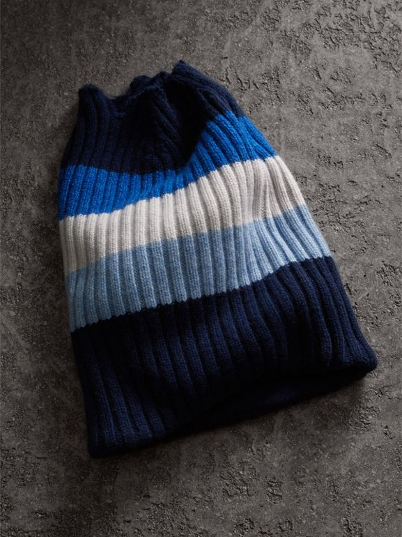 Striped Cashmere Open-top Beanie in Sky Blue - Women | Burberry - cell image 1