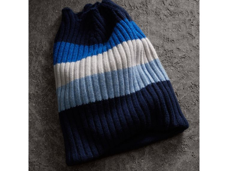 Striped Cashmere Open-top Beanie in Sky Blue | Burberry - cell image 1