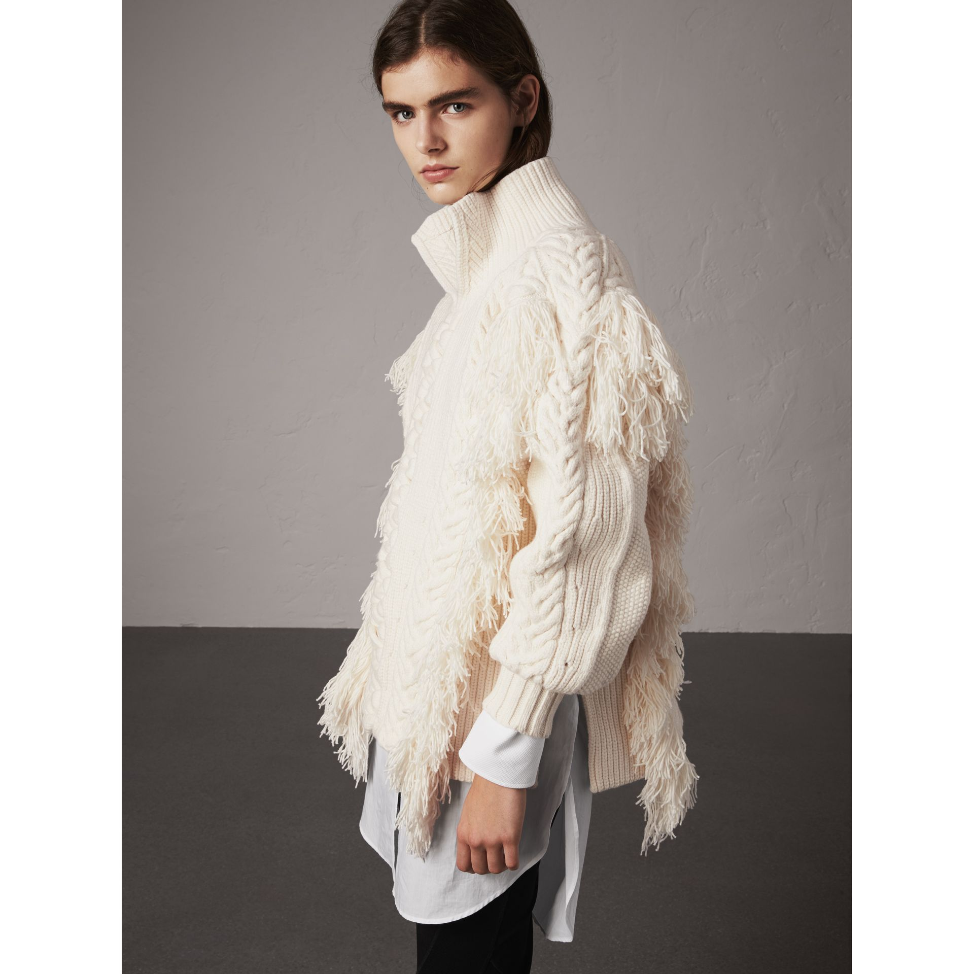 Fringed Cable Knit Cotton Blend Oversized Sweater in Natural White - Women | Burberry - gallery image 5