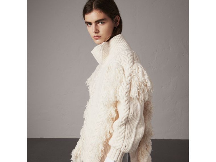 Fringed Cable Knit Cotton Blend Oversized Sweater in Natural White - Women | Burberry United Kingdom - cell image 4