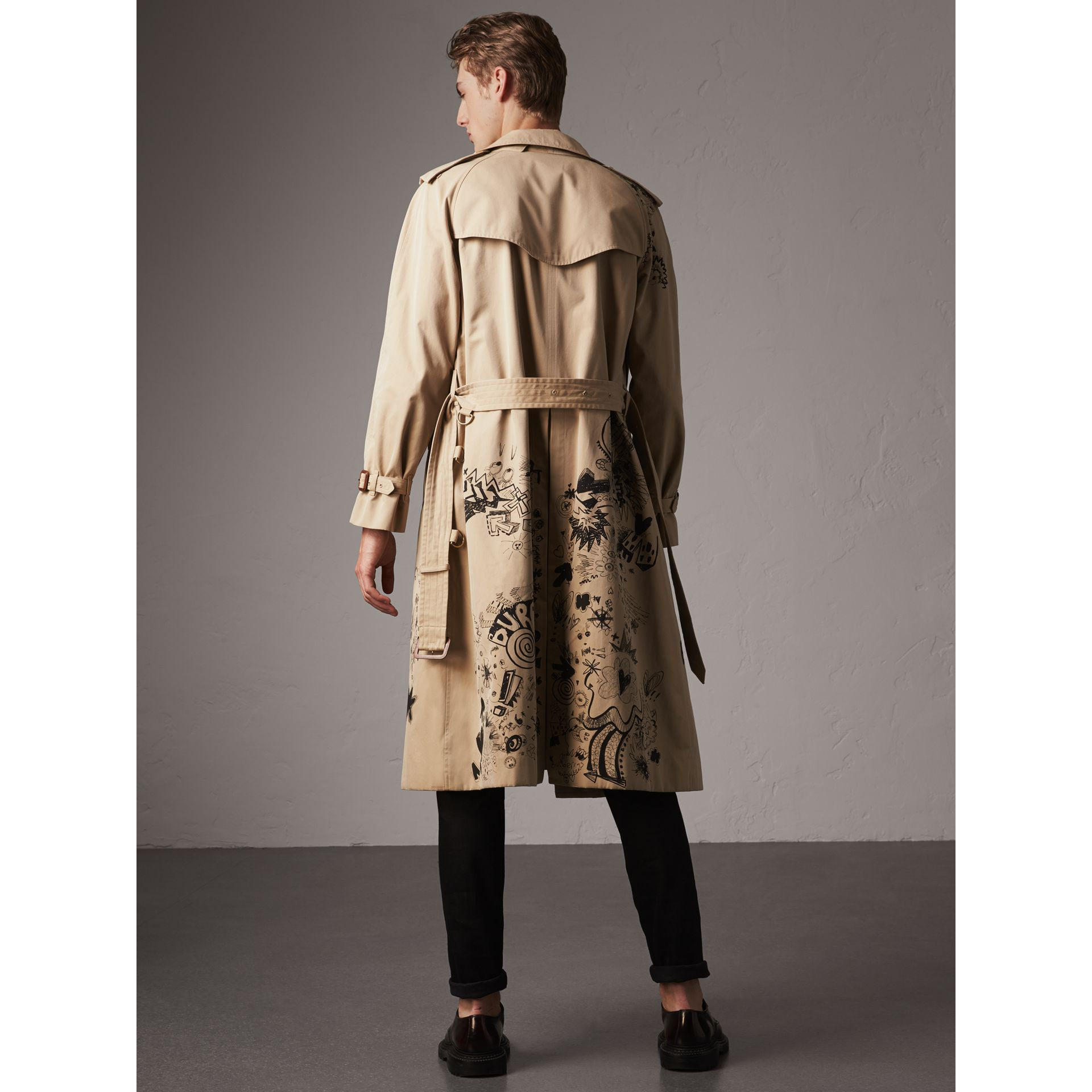Doodle Print Cotton Gabardine Trench Coat in Honey - Men | Burberry - gallery image 2