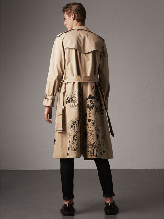Doodle Print Cotton Gabardine Trench Coat in Honey - Men | Burberry - cell image 2