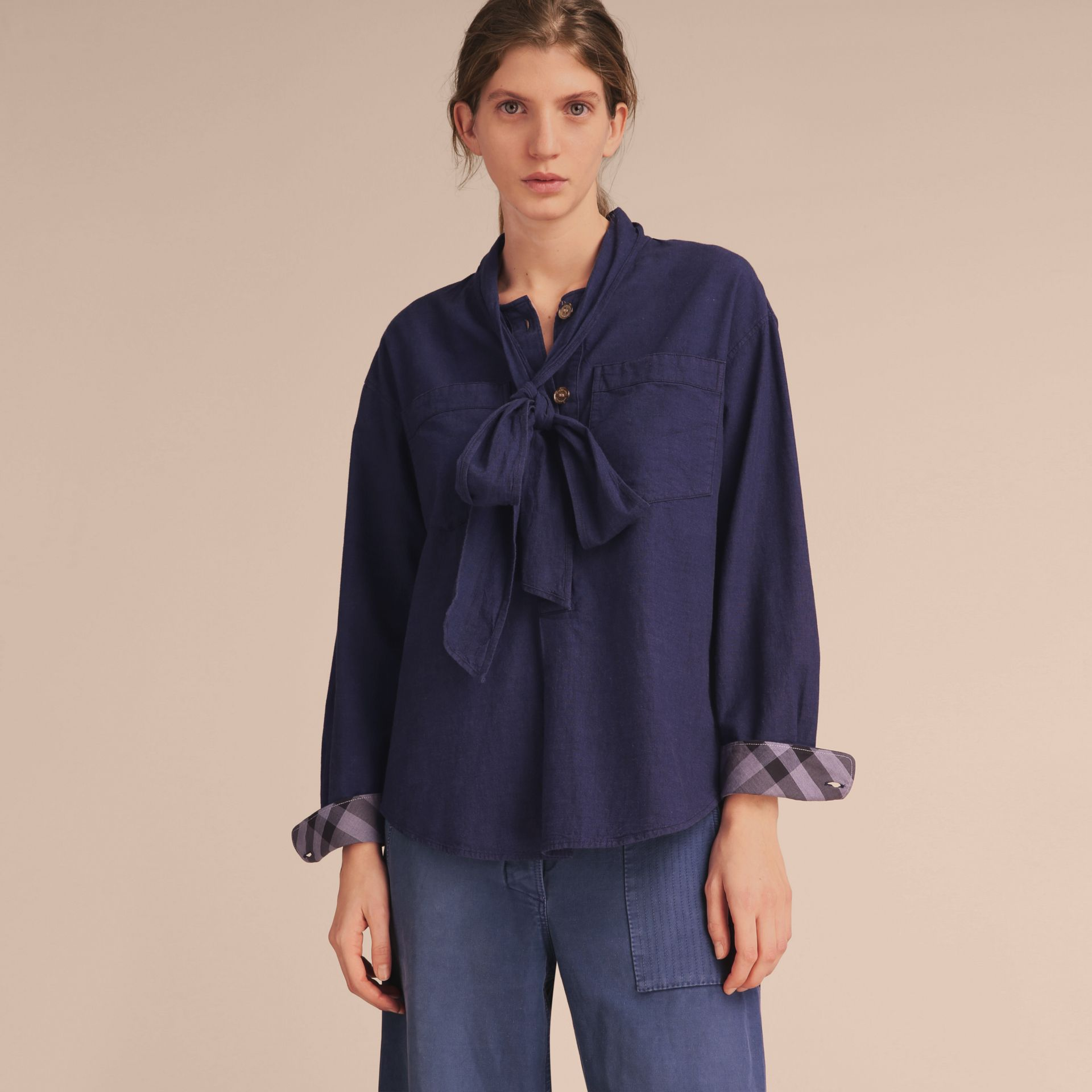 Neck Tie Cotton Chambray Shirt - gallery image 6