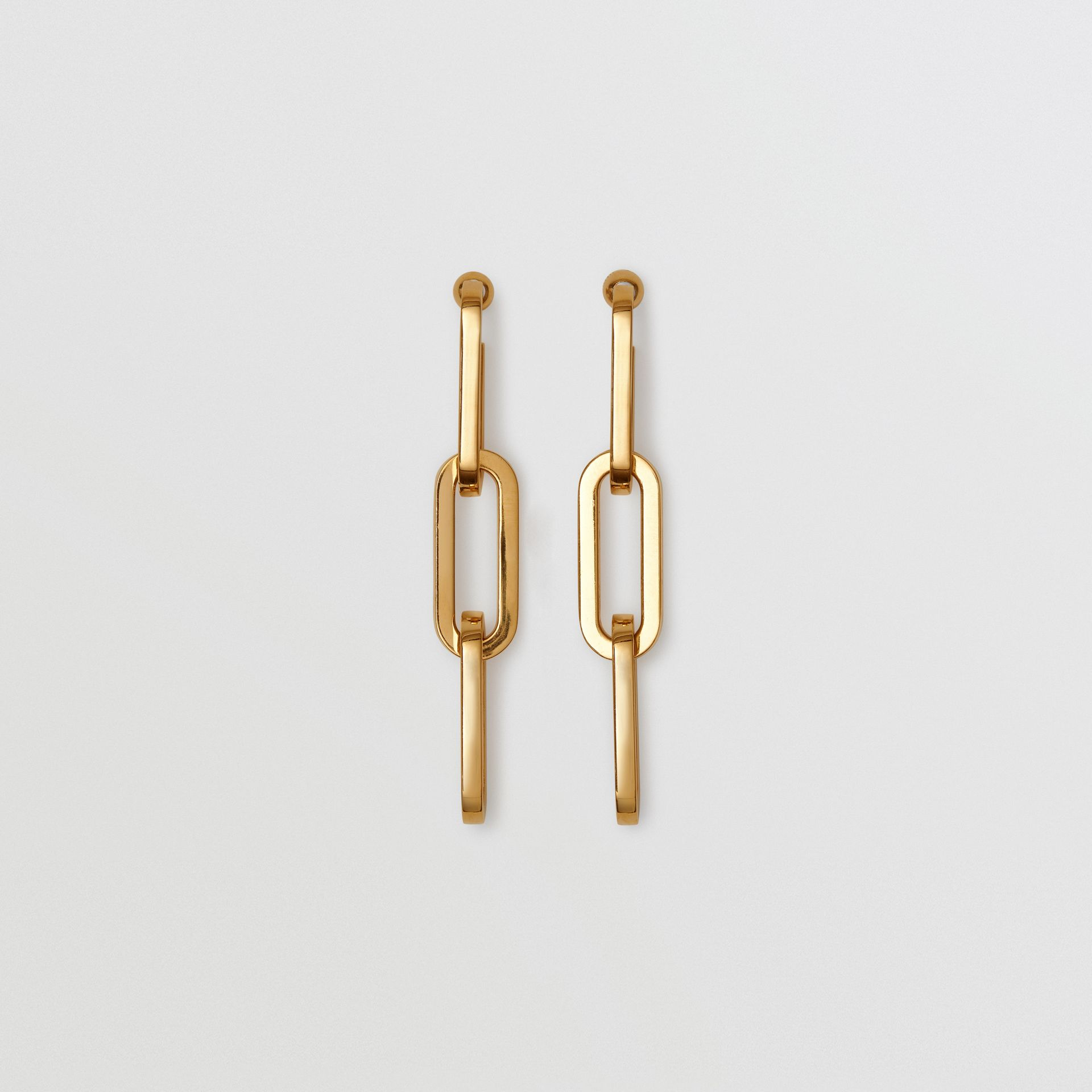 Gold-plated Link Drop Earrings in Light - Women | Burberry United Kingdom - gallery image 0