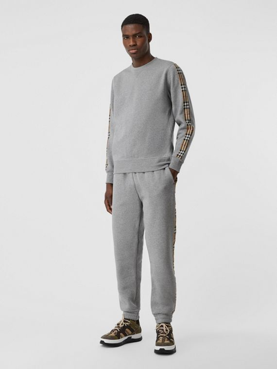 Vintage 格紋裁片平織運動衫 (淡混合灰)