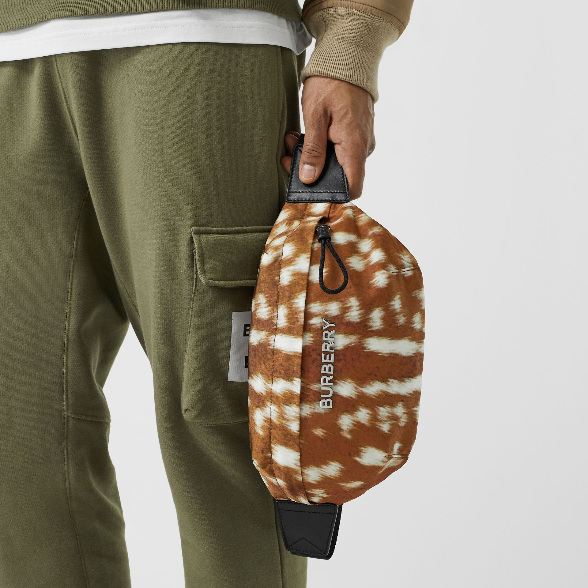 Medium Deer Print Bum Bag in Tan/white | Burberry - gallery image 3