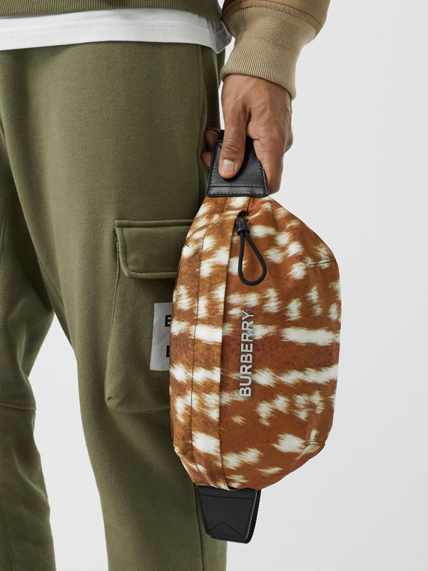 Medium Deer Print Bum Bag in Tan/white - Men | Burberry - cell image 2