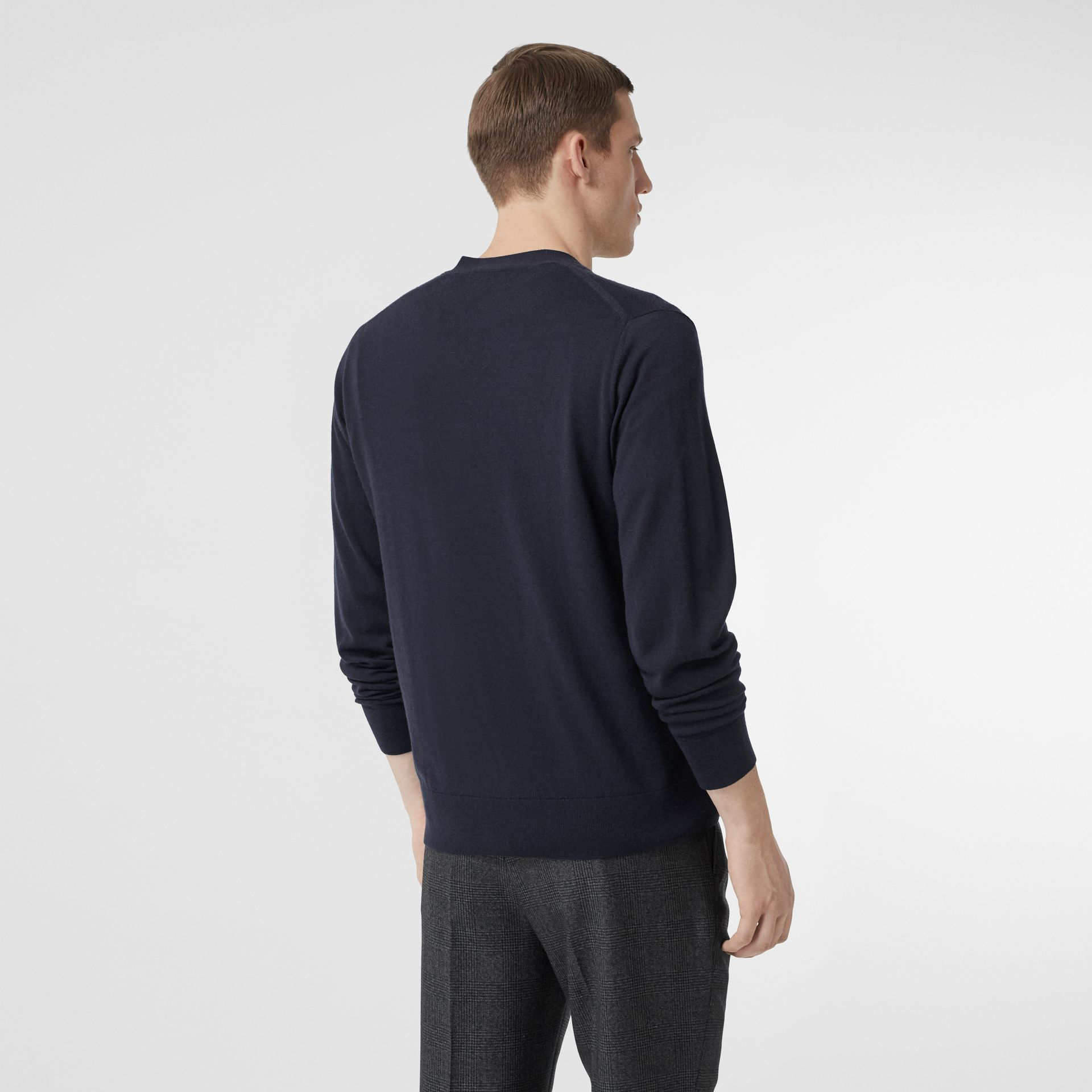 Monogram Motif Cashmere Cardigan in Navy - Men | Burberry Hong Kong S.A.R - gallery image 2