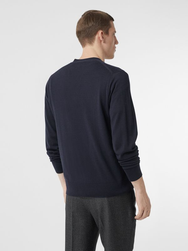 Monogram Motif Cashmere Cardigan in Navy - Men | Burberry Singapore - cell image 2
