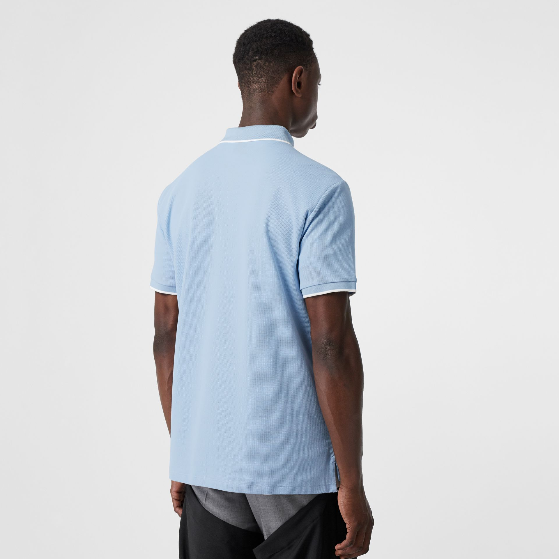 Monogram Motif Tipped Cotton Piqué Polo Shirt in Pale Blue - Men | Burberry - gallery image 2