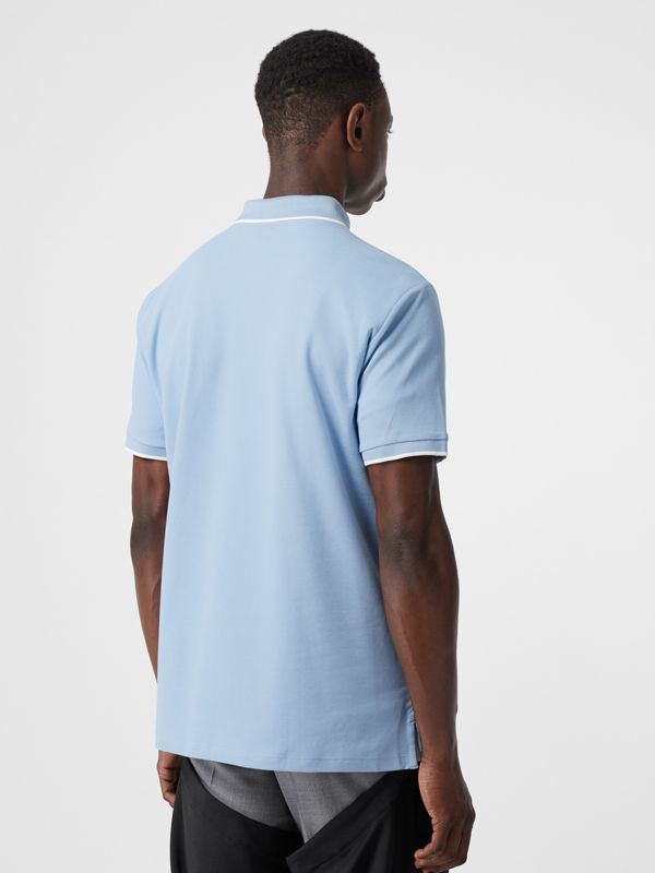 Monogram Motif Tipped Cotton Piqué Polo Shirt in Pale Blue - Men | Burberry United Kingdom - cell image 2