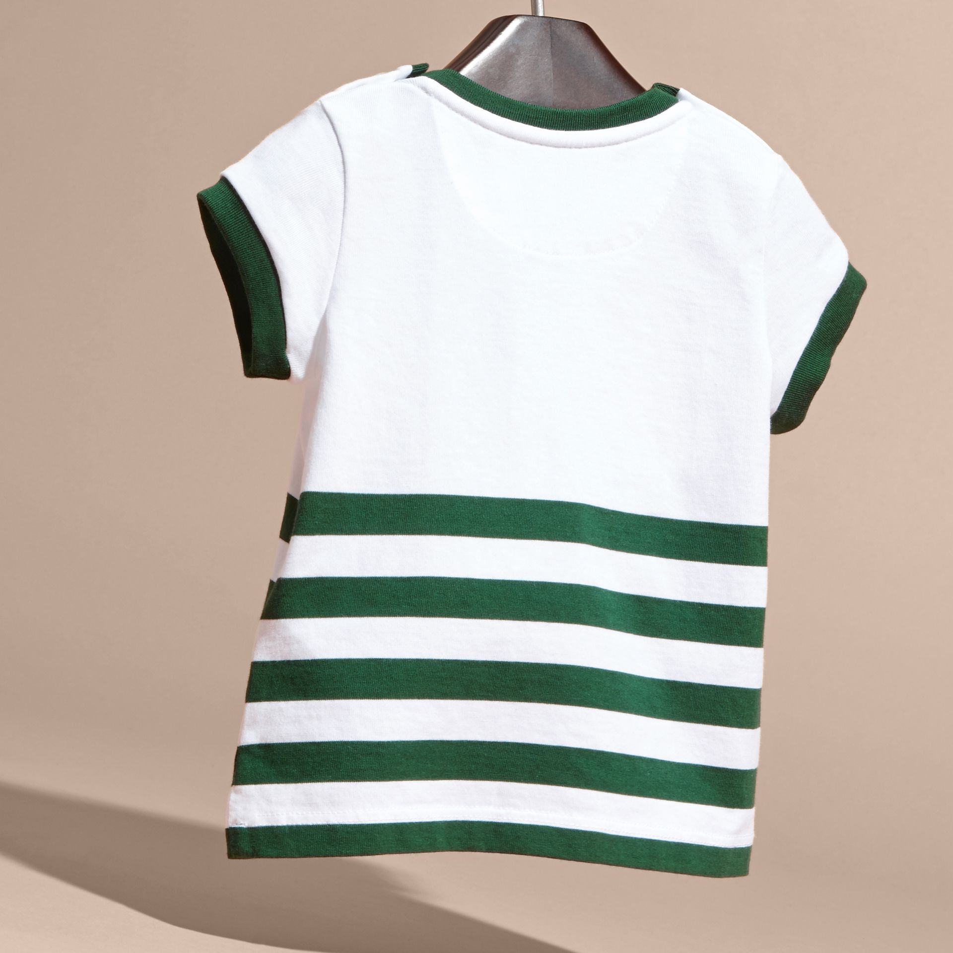 Racing green Striped Cotton T-shirt with Appliqué - gallery image 4