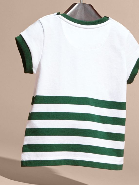Racing green Striped Cotton T-shirt with Appliqué - cell image 3