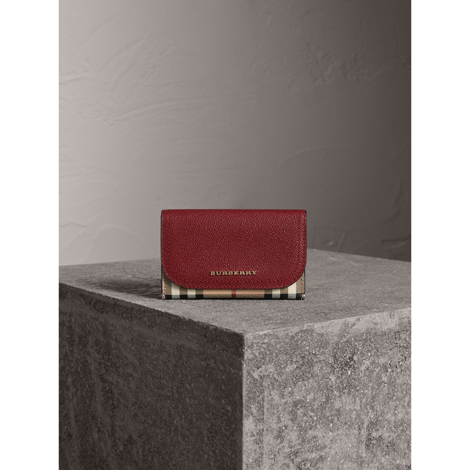 Leather and Haymarket Check Mini Wallet in Burgundy/multicolour | Burberry - gallery image 1
