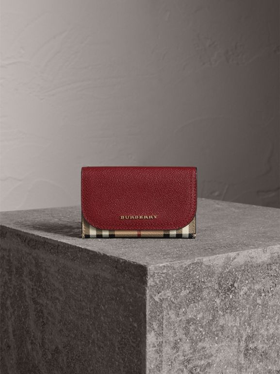 Leather and Haymarket Check Mini Wallet in Burgundy/multicolour | Burberry - cell image 1