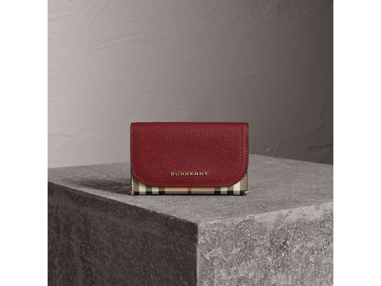Leather and Haymarket Check Mini Wallet in Burgundy/multicolour | Burberry Australia - cell image 1