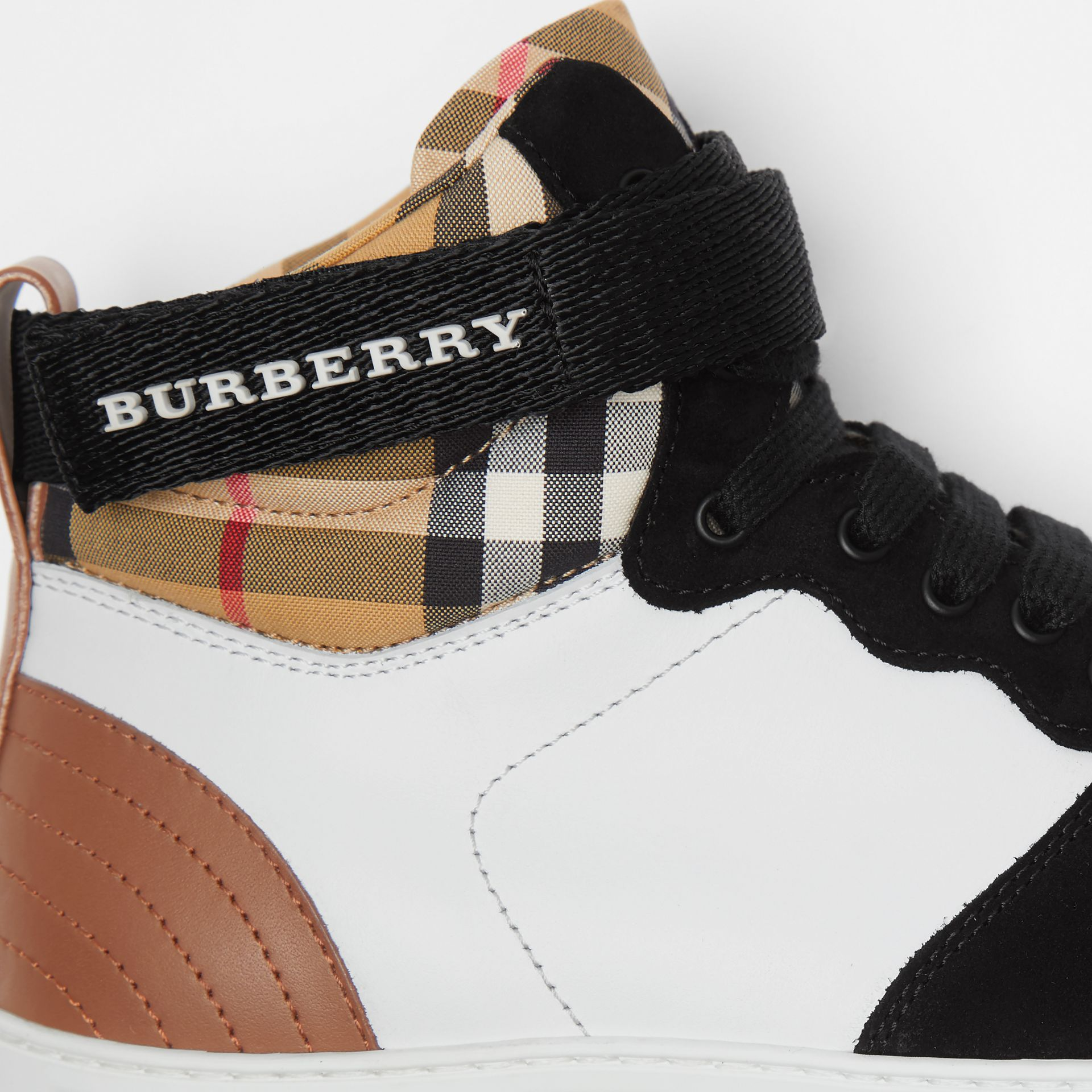 Leather and Suede High-top Sneakers in Camel - Women | Burberry - gallery image 1
