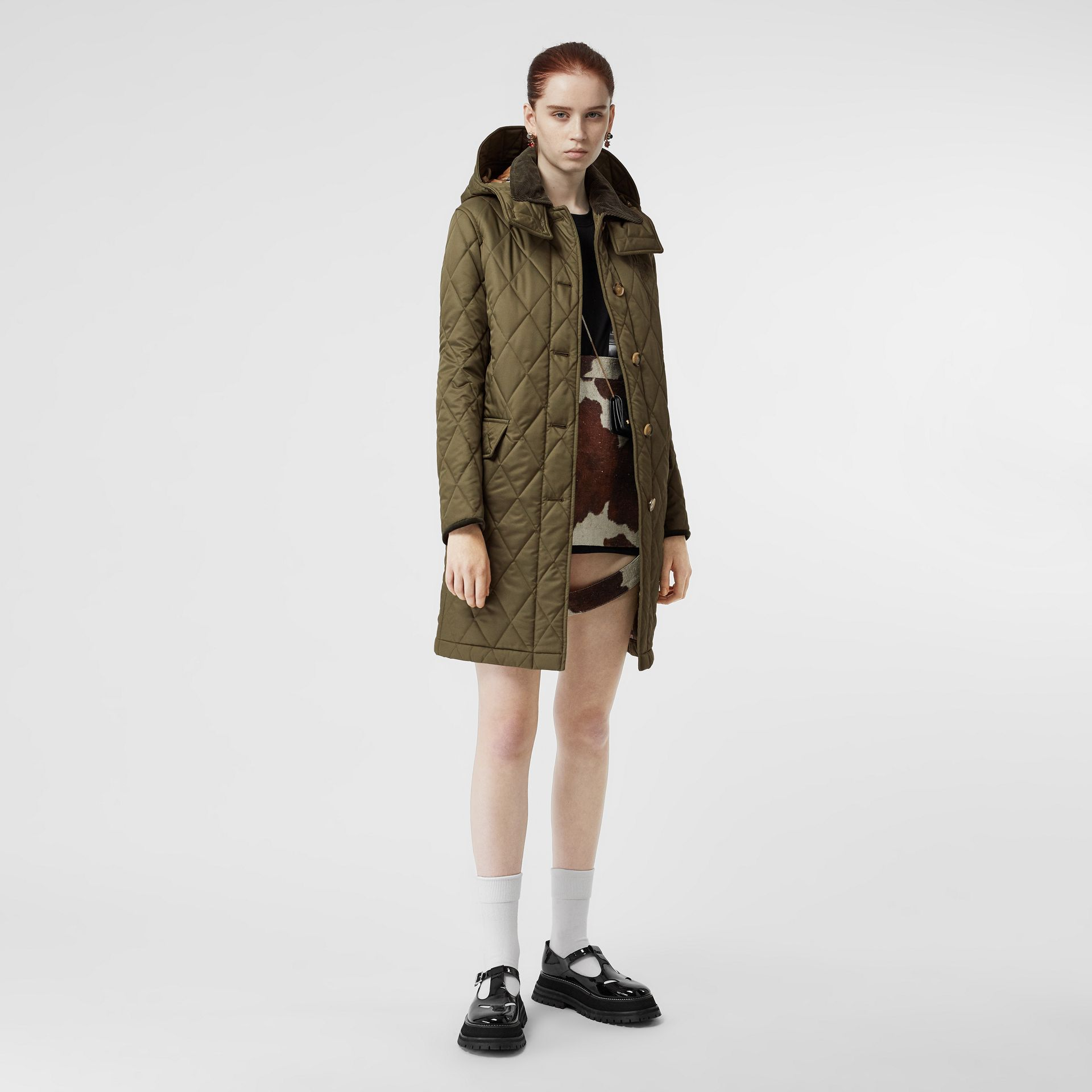 Detachable Hood Monogram Motif Quilted Coat in Olive Green - Women | Burberry - gallery image 0