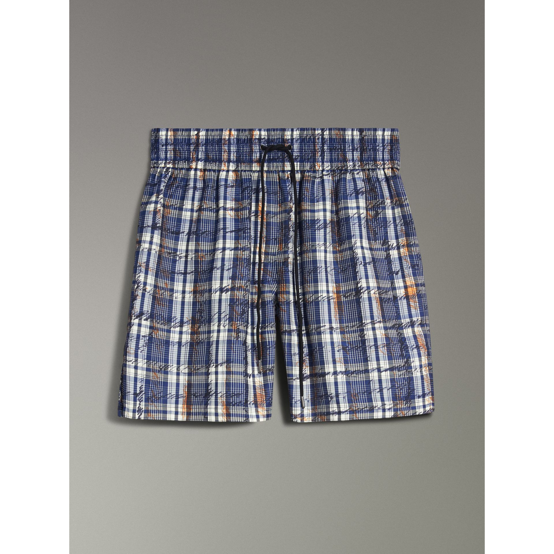 Scribble Check Silk Drawstring Shorts in Navy/white | Burberry - gallery image 3