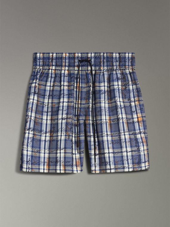 Scribble Check Silk Drawstring Shorts in Navy/white - Women | Burberry - cell image 3