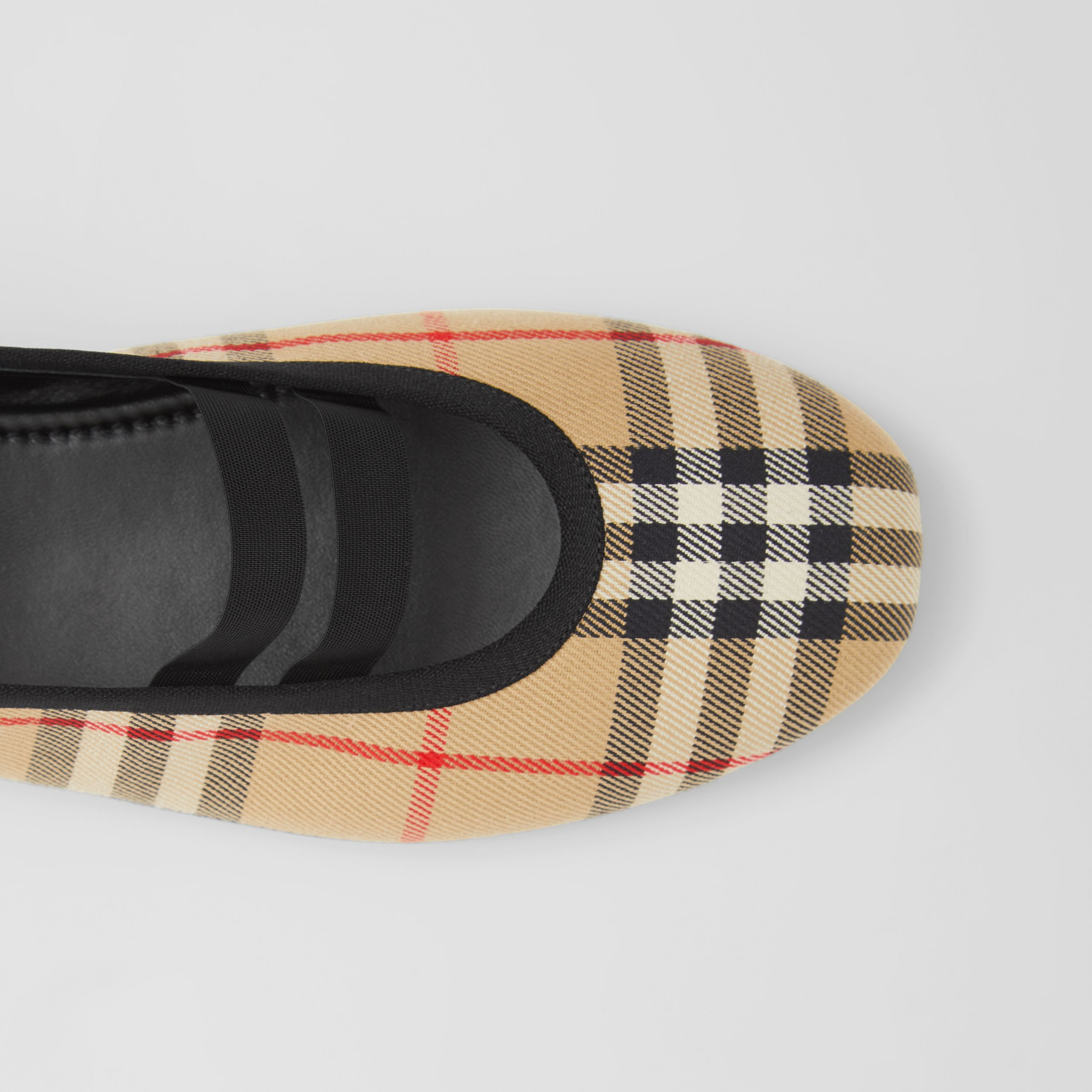 Logo Detail Vintage Check Cotton Ballerinas in Archive Beige - Women | Burberry - 2
