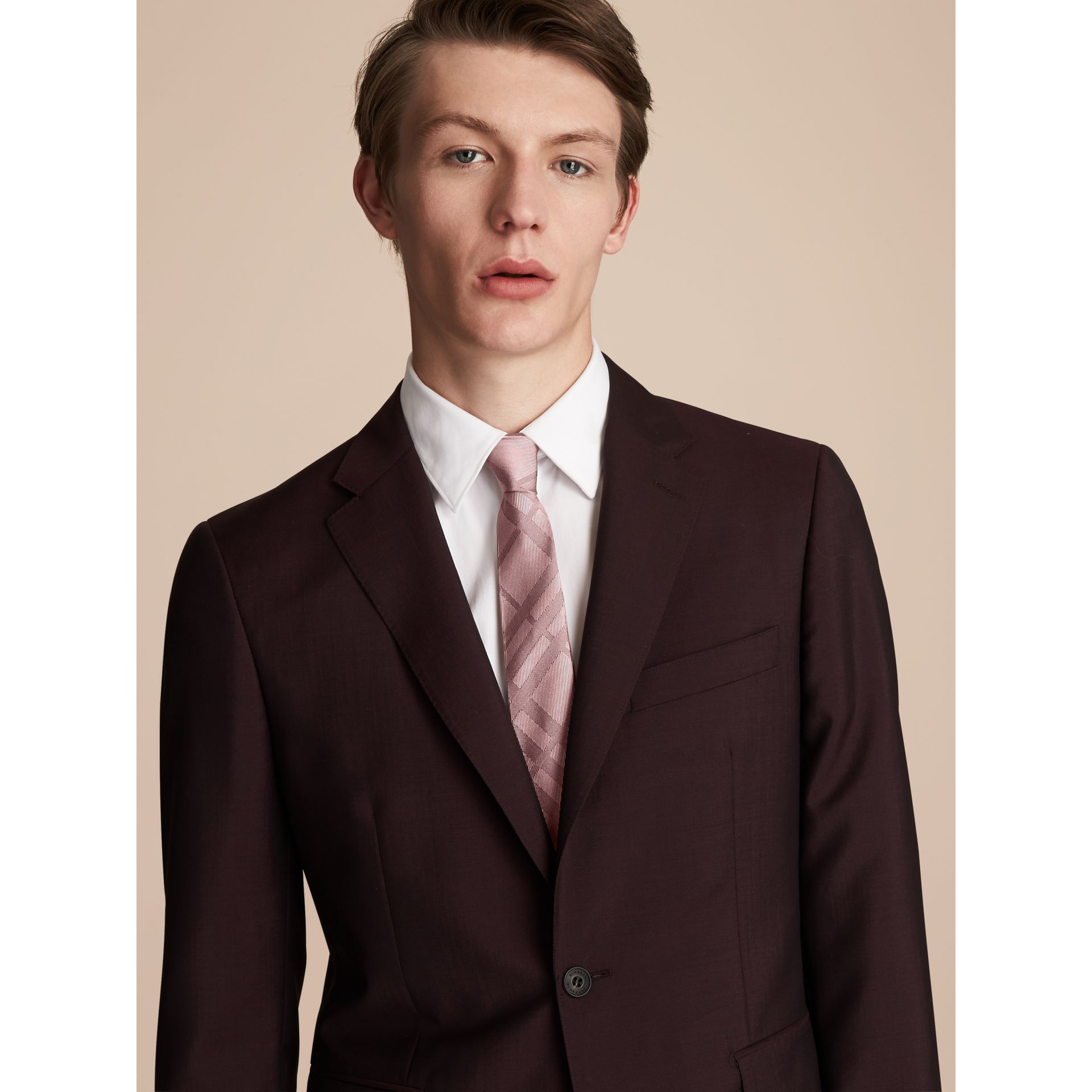 Slim Cut Check Silk Tie in Rose Pink - Men | Burberry - gallery image 3