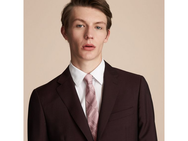 Slim Cut Check Silk Tie in Rose Pink - Men | Burberry - cell image 2
