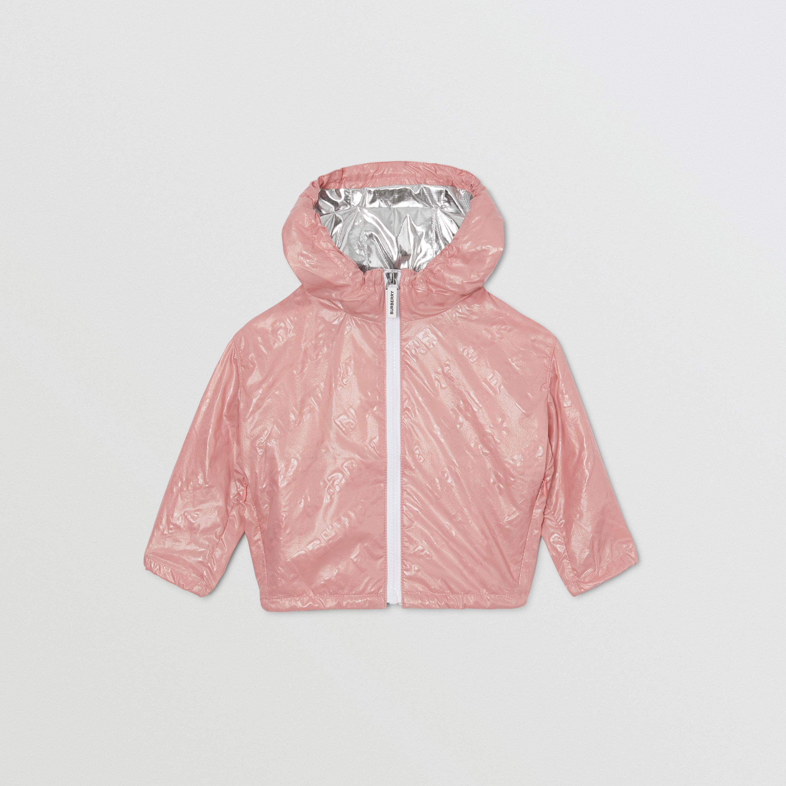Logo Print Lightweight Hooded Jacket in Dusty Pink - Children | Burberry - 1