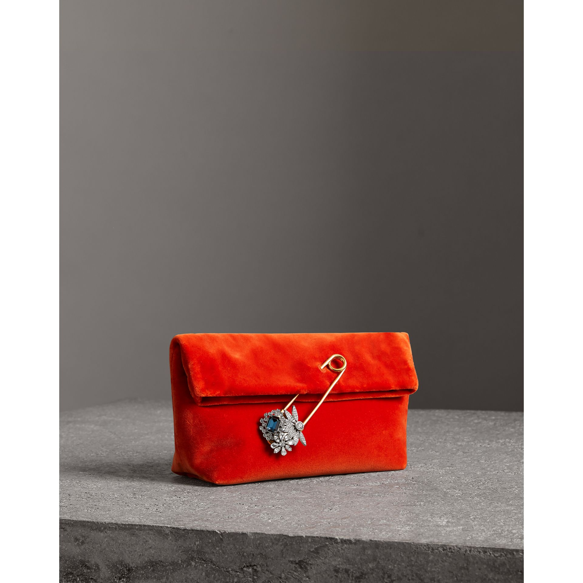 The Small Pin Clutch in Velvet in Orange Red - Women | Burberry - gallery image 4