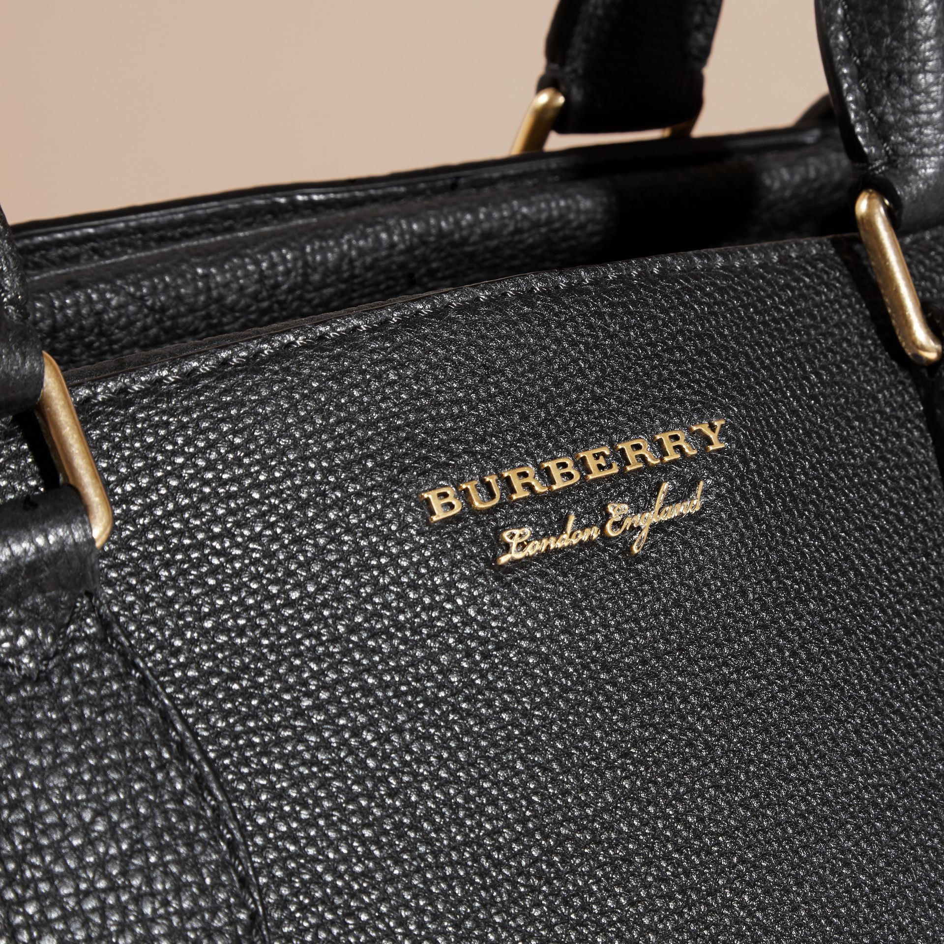Leather Holdall with House Check Detail in Black - Men | Burberry - gallery image 2