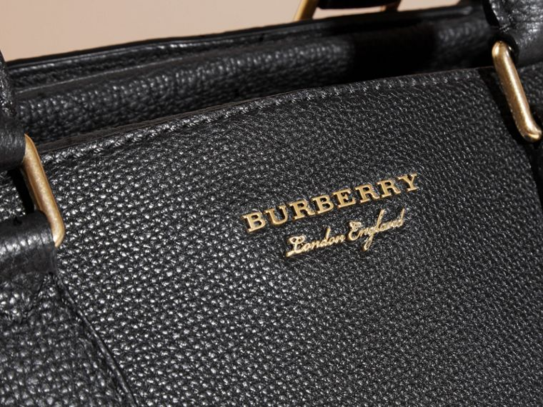 Leather Holdall with House Check Detail in Black - Men | Burberry - cell image 1