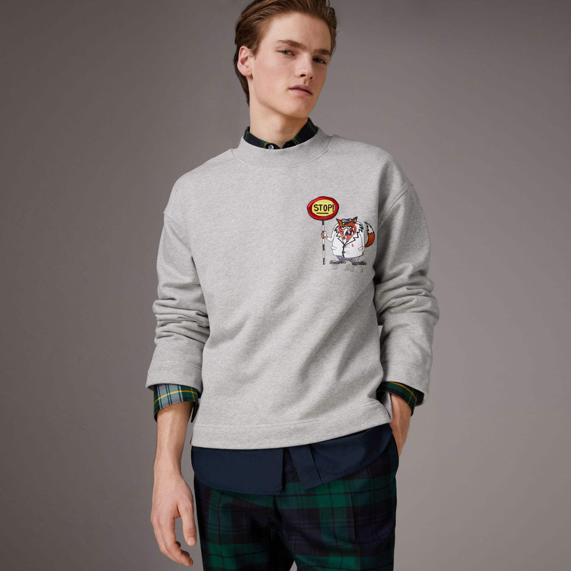 Sketch Print Cotton Jersey Sweatshirt in Light Grey Melange - Men | Burberry Australia - gallery image 0