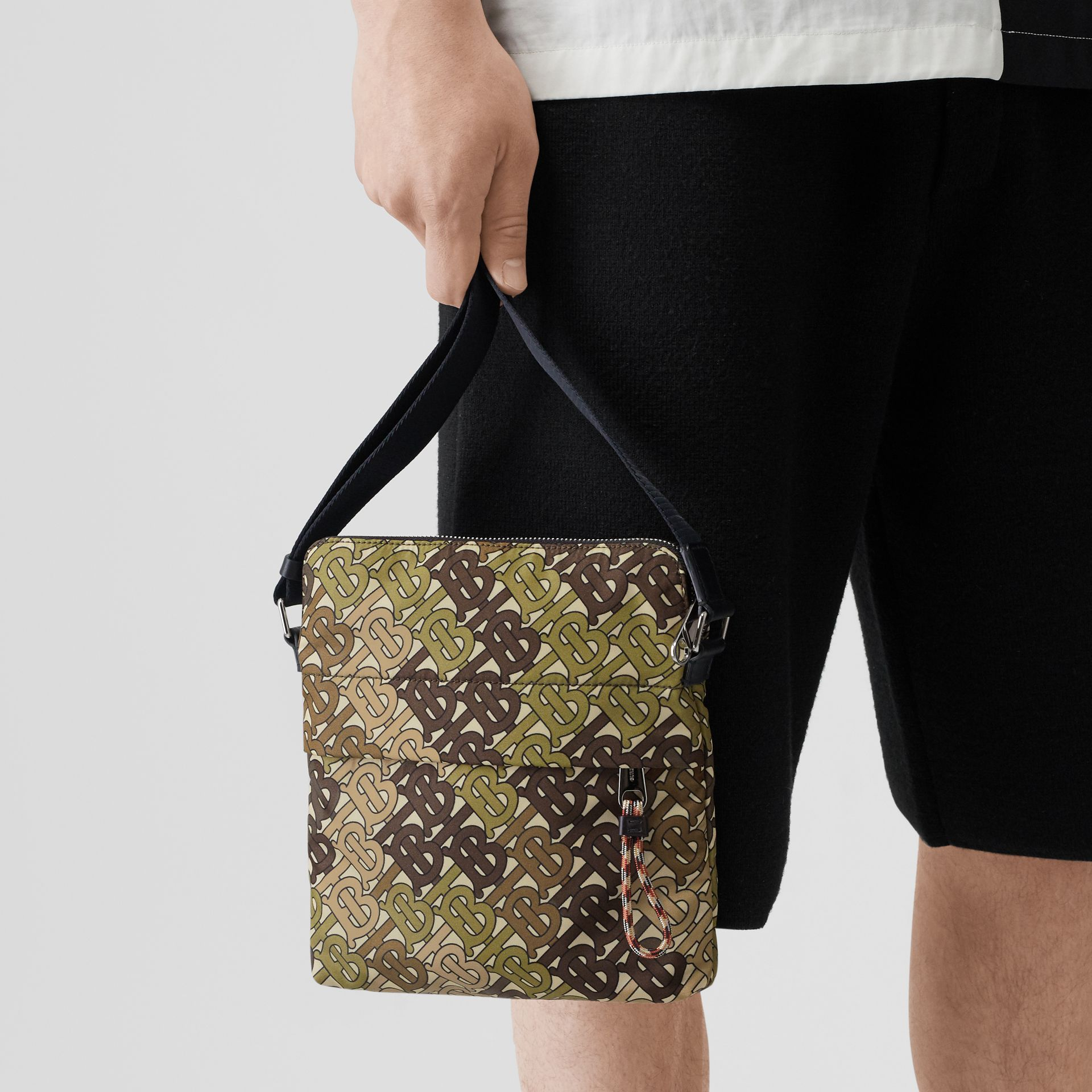 Monogram Print Nylon Crossbody Bag in Khaki Green - Men | Burberry Australia - gallery image 2