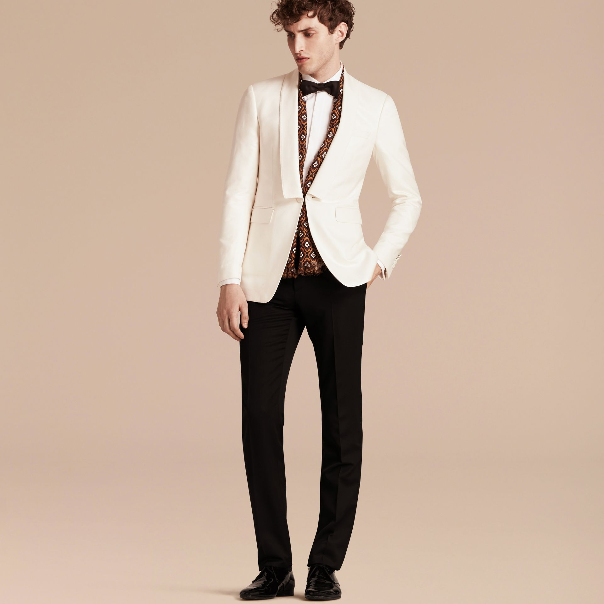 Natural white Slim Fit Cotton Silk Half-canvas Tuxedo Jacket - gallery image 7